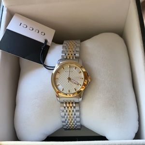 Gucci Two Tone G Timeless Silver & Gold Watch